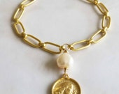 Bracelet - Saint Mary Magdalene Pearl - 18K Gold Vermeil - 17.5mm