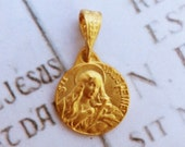 Medal - Saint Mary Magdalene 18K Gold Vermeil Medal - 15mm