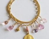 Bracelet - Saint Mary Magdalene Pink Zircon, Fuschia Topaz & Vintage, Czech Glass - 18K Gold Vermeil
