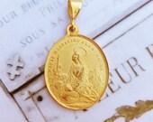 Medal - Saint Mary Magdalene 18K Gold Vermeil Medal - 27.5mm x 32mm