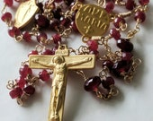 Rosary - Ruby Ave Maria Rosary - 18K Gold Vermeil