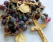 Rosary - Purple Agate 18K Gold Vermeil - St Mary Magdalene & Saintes-Maries