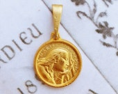 Medal - Saint Mary Magdalene 18K Gold Vermeil Medal - 17.5mm