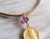 Bracelet - Mary of Magdala Amethyst Bangle - 18K Gold Vermeil