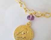 Bracelet - Saint Mary Magdalene Amethyst with Tiny Heart - 18K Gold Vermeil