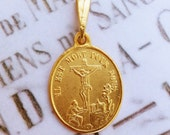 Medal - Saint Mary Magdalene at the Foot of the Cross 18K Gold Vermeil Medal - 19x22mm