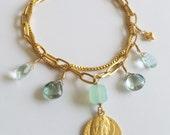 Bracelet - Saint Mary Magdalene Chalcedony, Green Topaz & Aqua Quartz