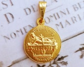 Medal - Saint Mary Magdalene on Rock of Penitence 21mm - 18K Gold Vermeil