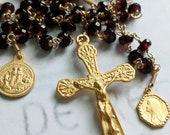 Rosary - Garnet Marie Madeleine w/ Alabaster Jar & Saintes-Maries - 18K Gold Vermeil