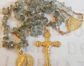 Rosary - Moss Agate Saint Mary Magdalene Agate Rosary with 18K Gold Vermeil Crucifix and Center