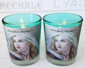 Candles - Pair of Saint Mary Magdalene Aqua Votive Candles Holders & White Votive Candles