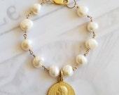 Bracelet - Mary of Magdala Freshwater Pearl - 18K Gold Vermeil