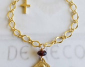 Bracelet - Saint Mary Magdalene Garnet with Cross - 18K Gold Vermeil
