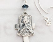 Necklace - Blessed Virgin Mary and Jerusalem Cross w/ London Blue Topaz Sterling Silver + 18 Inch Italian Sterling Silver Chain