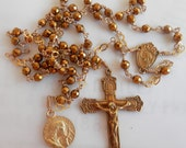 Rosary - Hematite Saint Mary Magdalene Rosary - 24K Gold Vermeil Crucifix & Center