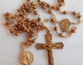 Rosary - Hematite Saint Mary Magdalene Rosary - 24K Gold Vermeil Crucifix & Center