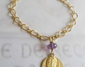 Bracelet - Mary  of Magdala Amethyst & Tiny Heart - 18K Gold Vermeil