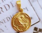 Medal - Saint Mary Magdalene 18K Gold Vermeil Medal - 17mm
