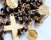 Rosary - Garnet Jerusalem Mary of Magdala with Santo Cristo di Limpias