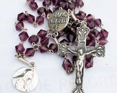 Rosary - Antique Purple French Crystal - Sterling Silver Crucifix & Ave Maria Center + Mary of Magdala SS Medal
