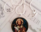 """St Simon Apostle Pendant with 18"""" Sterling Silver Chain - 28mm"""