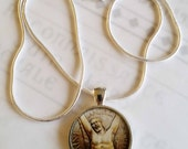 """St Andrew Apostle Pendant with 18"""" Sterling Silver Chain - 28mm"""