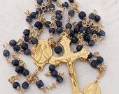 Rosary - Sri Lanka Sapphire Saint Mary Magdalene - 18K Gold Vermeil