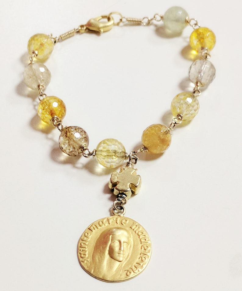 Bracelet 18K Gold Vermeil Citrine Mary of Magdala with Cross