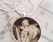 """St James Apostle Pendant with 18"""" Sterling Silver Chain - 28mm"""