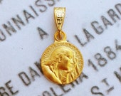 Medal - Tiny Saint Mary Magdalene 18K Gold Vermeil Medal - 13.5mm