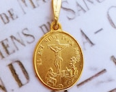 Medal - Saint Mary Magdalene at the Foot of the Cross 19x22mm - 18K Gold Vermeil