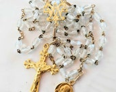 Rosary - Antique French Crystal Mary of Magdala - 18K Gold Vermeil