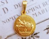 Medal - Saint Mary Magdalene on Rock of Penitence 21mm - 18K Gold Vermeil