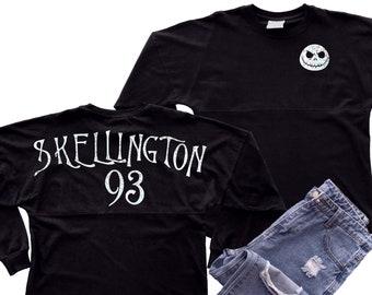 Disney Jack Skellington Jersey/ Nightmare Before Christmas Holographic Spirit Shirt/ Skellington Halloween Oversized Jersey Top