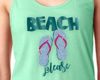 385dd4b4728bf Beach Flip Flop Glitter Tank Top  Beach Please Tropical Tank  Glitter Aqua  Blue Flip Flop Women s Summer Vacation Beach Tank Top. PrintsAtTheJunction  €19.75