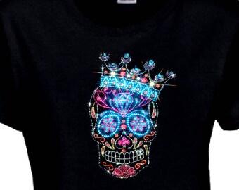 Rhinestone Sugar Skull Shirt/Crown Sugar Skull Dia De Los Muertos Skull Women's Shirt/Day Of The Dead T-Shirt/Jeweled Crown Sugar Skull