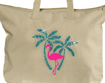 7cc6f477c5697 Flamingo Tote Bag  Glitter Nautical Blue Green Palm Trees Flamingo Tote   Tropical Pink Flamingle Beach Summer Beach Bag  Canvas Tote.  PrintsAtTheJunction ...