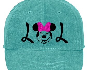 4d2b2ac095caa Disney Minnie Mouse Hat  LOL Minnie Baseball Hat  Disney Minnie Pink  Glitter Bow Laughing Out Loud Vacation Adjustable Cap