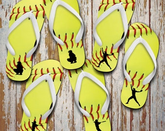 180cf194ce134e Softball Flip Flops  Custom Softball Gift  Softball Pitcher