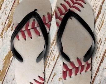7a35e83094238 Baseball Flip Flops  Baseball Gift  Baseball Mom Flip Flops  Baseball Seams Flip  Flops  Baseball Stitches Flip Flops. PrintsAtTheJunction  14.50
