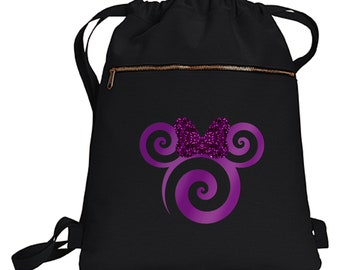 2c04438f882 Disney Potion Purple Minnie Backpack  Minnie Mouse Glitter Purple Bow Disney  Vacation Travel Park Bag