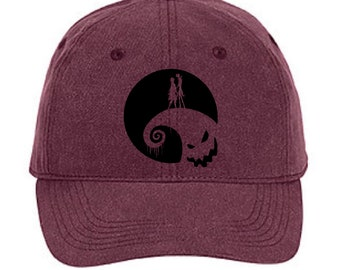 0fa510bd8f0 Disney Hat  Nightmare Before Christmas Hat  Jack Skellington And Sally On  Spiral Hill Oogie Boogie Baseball Hat  Disney Halloween Cap
