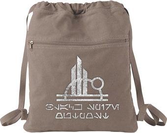 5a4eb1886 Disney Star Wars Galaxy's Edge Backpack/ Aurebesh Black Spire Outpost  Vacation Travel Park Bag Gift/ Metallic Silver Disney Cinch Sack