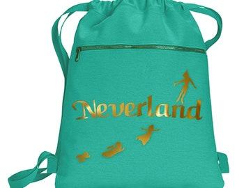 Disney Neverland Backpack  Peter Pan Metallic Gold Vacation Travel Park Bag  Gift