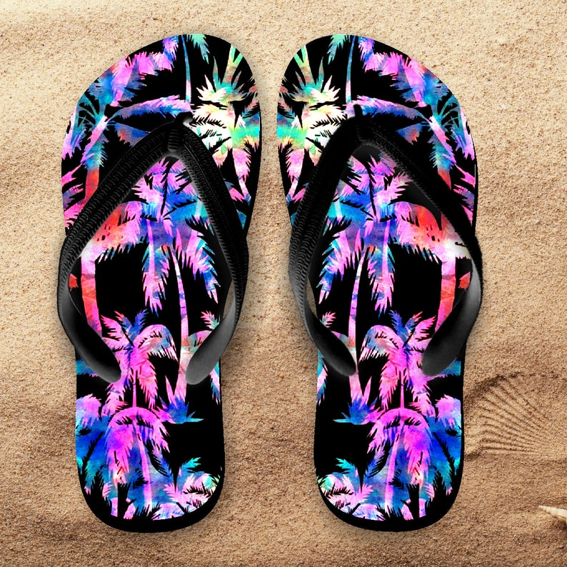 8d116315959ca Palm Trees Flip Flops  Tropical Beach Flip Flops   Neon