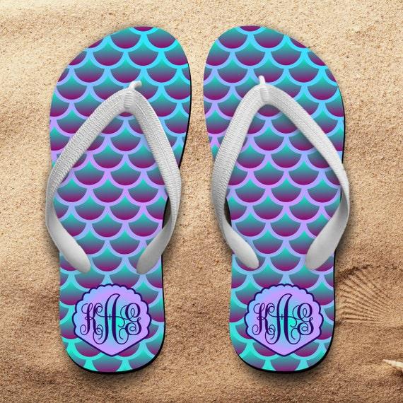 5e381537a78ef Mermaid Monogrammed Flip Flops  Monogrammed Flip Flops