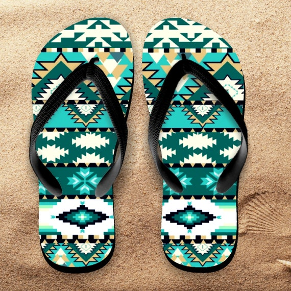 a7a2ab02c9f9f Aztec Flip Flops  Aztec Tribal Turquoise Tropical Beach Flip