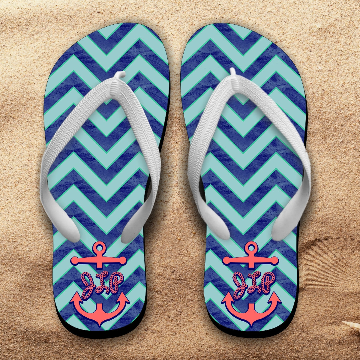 f1436b09e6fd3 Monogrammed Nautical Flip Flops Personalized Summer Beach Flip