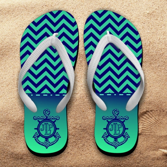 27cc8d4e323f3 Items similar to Monogrammed Nautical Chevron Flip Flops  Personalized  Summer Beach Flip Flops  Anchor Initials On Chevron Flip Flops  Summer  Beach Sandals ...
