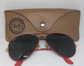 4777669fef1f VINTAGE B L RAY BAN Flying Colors Red Aviator Sunglasses W  Vintage Case